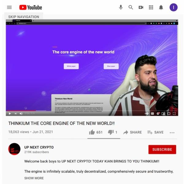 Thinkium公链被称为新世界的核心引擎,在YouTube上引起轰动